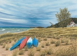 David Larkins; Winds Of Change, 2018, Original Painting Acrylic, 26 x 18 inches. Artwork description: 241 Fall begins to creep in while we were staying with friends in Pentwater, MI.  The blustery wind whipped waves on Lake Michigan reminds us that another summer season has come to an end ...