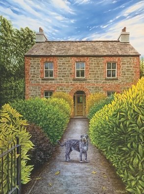 David Larkins; Wolffdogge, 2020, Original Painting Oil, 18 x 24 inches. Artwork description: 241 While exploring Bunratty Castle, Ireland I came across this wonderful stone house in the village.Of course there were Irish Wolhounds everywhere we went in Ireland, so I was inlcined to give them their due.Wolffdogge is an early Irish name for them. ...