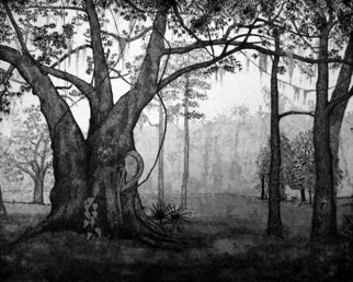 David Larson Evans; The Clearing, 2007, Original Printmaking Etching, 24 x 26 inches. Artwork description: 241  limited edtion. . . hand pulled by artist ...