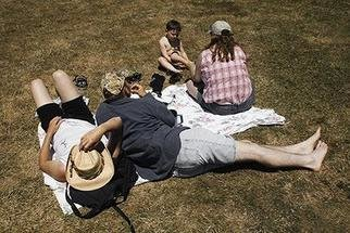 David Lorenz Winston; Kite Festival Attendees, 2005, Original Photography Color, 20 x 14 inches. Artwork description: 241 Sprawling out at annual Brookings, Oregon Kite Festival...