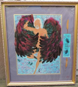 Dawn Eve; Gayngel, 2016, Original Mixed Media, 18 x 24 inches. Artwork description: 241  Male older Angel w wings of real feathers28 x 32 framed. ...