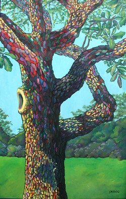 Debra Lennox; Audubon Park Oak Tree, 2004, Original Painting Oil, 24 x 40 inches. Artwork description: 241  New Orleans was and remains a magical place with psychedelic swirling colors whether at Mardi Gras or in a riverside park.  ...