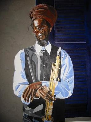 Dennis Duncan; BLEU ON BROAD STREET, 2003, Original Painting Acrylic, 48 x 60 inches. Artwork description: 241 Bleu On Broad St.48x60Acrylic/ Mixed- MediaBleu is one of the local street performers, along the Avenue of the Arts on Broad St. ,  Philadelphia, Pennsylvania. USA...