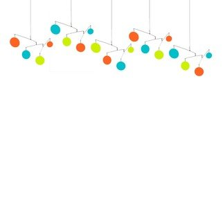 Debra Ann; Palm Springs Atomic Mobile, 2020, Original Kinetic, 82 x 20 inches. Artwork description: 241 Kinetic hanging art mobile in orange, aqua, and lime green. ...