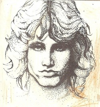 Debra Ann Reilly; Face Out Of The Rain, 1980, Original Illustration, 10 x 10 inches. Artwork description: 241   this was first created as a light pencil outline, and filled in with rapidograph pens and ink, each dot one at a time, brown color pencil highlights the illustration which represents a rock and roll singer from the psychedelic period of music  ...