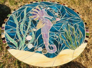 Debbie Murrell; Francis The Seahorse, 2012, Original Glass, 30 x 30 inches. Artwork description: 241  Glass on Glass Mosaic.  30 inch round.  Seahorse in the ocean.  All hand cut glass.  Coated with a 2 part resin for protection from the elements. ...