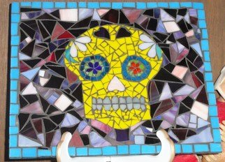 Debbie Murrell; Sammy The Skull, 2012, Original Glass, 12 x 10 inches. Artwork description: 241   Glass on Glass Mosaic.  All hand cut glass.  Day of the Dead skull. ...