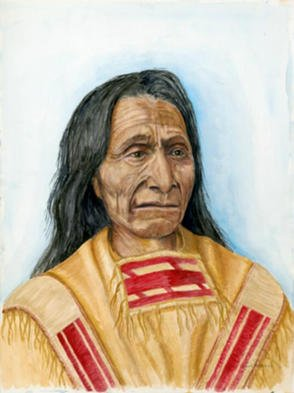 David Herold; Red Cloud, 2002, Original Watercolor, 16 x 20 inches. Artwork description: 241 One of the great Oglala Lakota Sioux chiefs. He was known as a fierce warrior. One of his last major victories was forcing the U. S. Army to abandon the Bozeman Trail.  Original 18