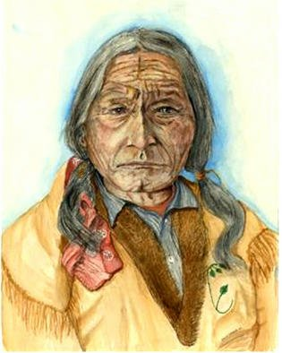 David Herold; Sitting Bull, 2002, Original Watercolor, 16 x 20 inches. Artwork description: 241 Sitting Bull was one of greatest Sioux Chiefs in history. He was well respected by all of his people.  In this painting you can tell that the great years were behind him. Original 18