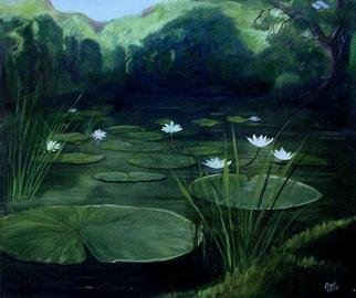 Devi Delavie; Secret Pond, 2003, Original Painting Acrylic, 30 x 24 inches. Artwork description: 241 Under the pegasus mountain, around the purple oak, and just beyond the singing rushes. ...