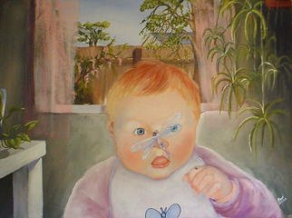 Devi Delavie; Visitor, 2003, Original Painting Acrylic, 40 x 30 inches. Artwork description: 241 In the eyes of a child, open windows bring more than breezes....
