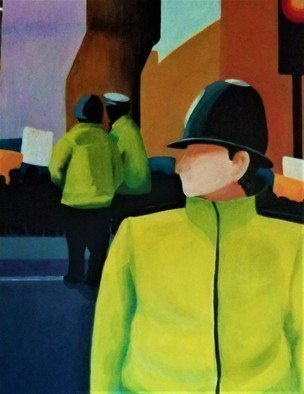Denise Dalzell; Watch, 2019, Original Painting Acrylic, 18 x 24 inches. Artwork description: 241 painting, watch, illustration, expressionism, pop art, modern, realism, city, policemen.  A scene of three looking over an urban protest...