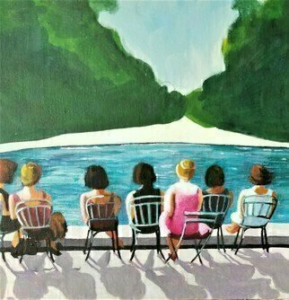 Denise Dalzell; A Moment, 2020, Original Painting Acrylic, 12 x 12 inches. Artwork description: 241 An illustration of relaxation at a park, Sutumn 2019...