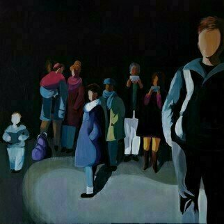 Denise Dalzell; Company, 2020, Original Painting Acrylic, 24 x 24 inches. Artwork description: 241 An illustration of interaction amongst strangers, LondonFall 2019...