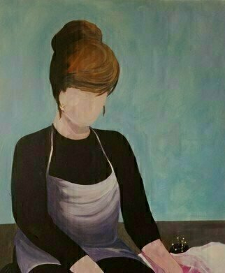 Denise Dalzell; Coutouriere, 2021, Original Painting Acrylic, 20 x 24 inches. Artwork description: 241 A illustration of a seamstress at work...