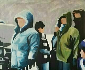 Denise Dalzell; Crew, 2021, Original Painting Acrylic, 24 x 20 inches. Artwork description: 241 An illustration of a very cold film crew, Ohio 1979...