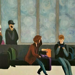 Denise Dalzell; Delay, 2020, Original Painting Acrylic, 24 x 24 inches. Artwork description: 241 An illustrated scene of a long delay at Heathrow , London  November 2019...