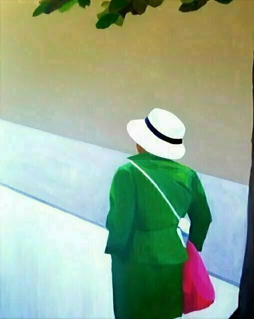 Denise Dalzell; En Verte, 2019, Original Painting Acrylic, 24 x 30 inches. Artwork description: 241 A modern portrait of a solitary lady heading out into the world. ...