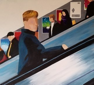 Denise Dalzell; Escalator, 2020, Original Painting Acrylic, 28 x 24 inches. Artwork description: 241 An illustration from an adventure in London. ...