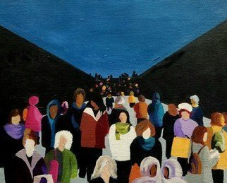 Denise Dalzell; Gallery, 2021, Original Painting Acrylic, 16 x 12 inches. Artwork description: 241 An illustration of interaction of people interacting in public again. ...