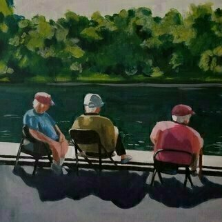 Denise Dalzell; Lakeside, 2020, Original Painting Acrylic, 11 x 11 inches. Artwork description: 241 An illustration of a Summer afternoon lakeside in Central Park, New York, Summer 2019...