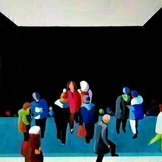 Denise Dalzell; Landing, 2020, Original Painting Acrylic, 18 x 18 inches. Artwork description: 241 An illustration of travelers interacting as they  emerge from a public transit station. ...