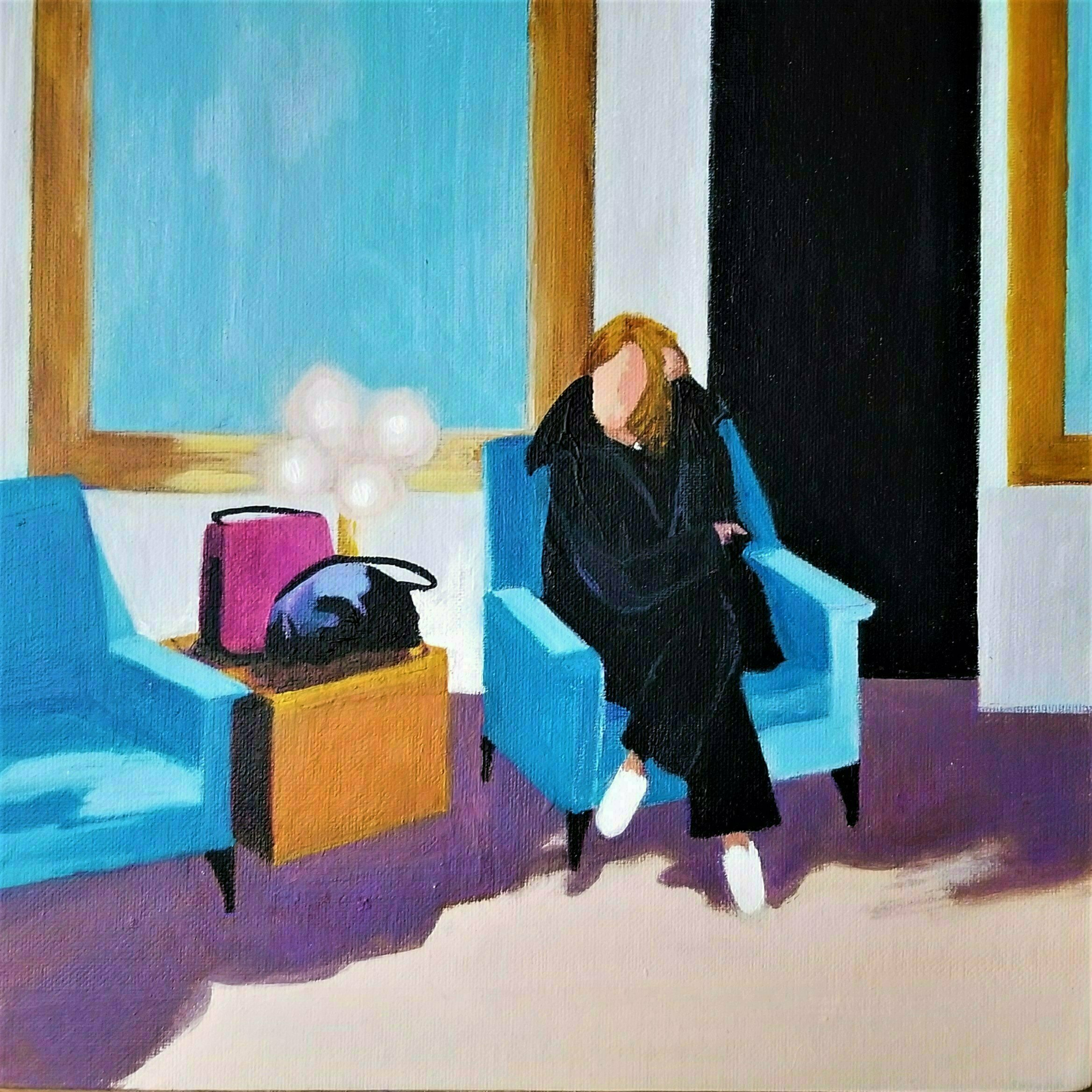 Denise Dalzell; Lounge, 2020, Original Painting Acrylic, 11 x 11 inches. Artwork description: 241 An illustration of lounging in the midst of an outing. ...