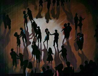 Denise Dalzell; Lumiere, 2020, Original Painting Acrylic, 24 x 18 inches. Artwork description: 241 An illustration of people celebrating at an evening dance party...
