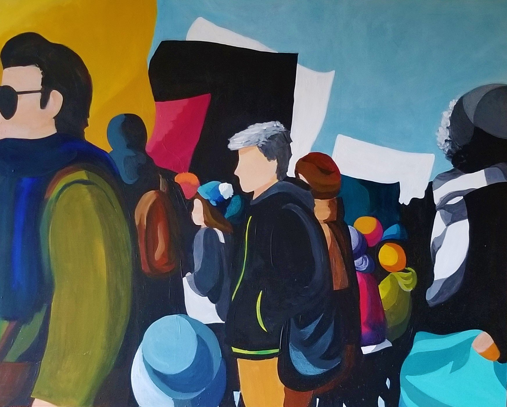 Denise Dalzell; Spectators, 2019, Original Painting Acrylic, 30 x 24 inches. Artwork description: 241 painting, spectators, illustration, expressionism, pop art, modern, realism, people, protestA scene of a protest passing through a crowd of spectators. ...