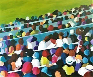 Denise Dalzell; Stadium, 2019, Original Painting Acrylic, 28 x 24 inches. Artwork description: 241 painting, stadium, illustration, expressionism, pop art, modern, realism, people, grandstand.A scene of relationships within a growing crowd. ...