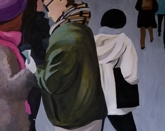 Denise Dalzell; Twosome, 2019, Original Painting Acrylic, 30 x 24 inches. Artwork description: 241 painting, twosome, illustration, expressionism, pop art, modern, realism, people.  A scene of a couple heading out among pedestrians. ...
