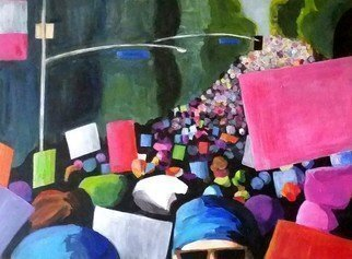 Denise Dalzell; unison, 2017, Original Painting Acrylic, 24 x 18 inches. Artwork description: 241 A scene from the LA Women s March January 2017...