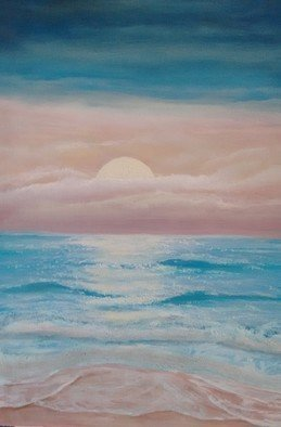 Denise Seyhun; California Sunset, 2017, Original Painting Oil, 18 x 24 inches. Artwork description: 241 Seascape, sunset, beach, CA...