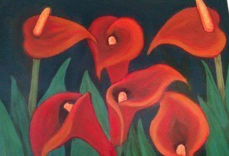 Denise Seyhun; Red Calla Lilies, 2016, Original Painting Oil, 24 x 18 inches. Artwork description: 241 Flowers, floral, lilies, calla lilies, red flowers...