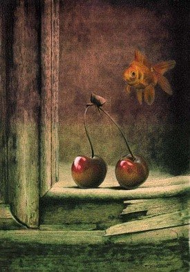 Dennis Mccallum; A question of cherries, 2015, Original Mixed Media, 15 x 25 cm. Artwork description: 241  goldfish cherries painting           ...