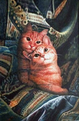 Dennis Mccallum; Double trouble, 2016, Original Mixed Media, 13 x 19 cm. Artwork description: 241  Cats   ...