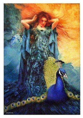 Dennis Mccallum; Hera in her glory, 2015, Original Mixed Media, 15 x 25 cm. Artwork description: 241  Mythology peacock             ...