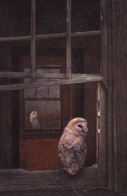 Dennis Mccallum; Their First Date, 2015, Original Mixed Media, 16 x 25 cm. Artwork description: 241   Barn Owls  ...