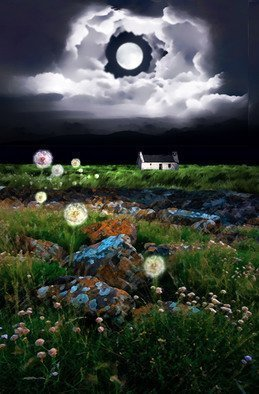 Dennis Mccallum; Dandelion Moon Cottage, 2018, Original Mixed Media, 20 x 30 inches. Artwork description: 241 A cottage in the moors...