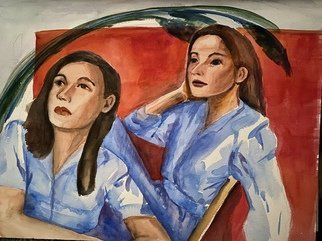 Deborah Paige Jackson; Amy And Emily, 2020, Original Watercolor, 16 x 12 inches. Artwork description: 241 Watercolor on paper of two women with matching outfits. ...