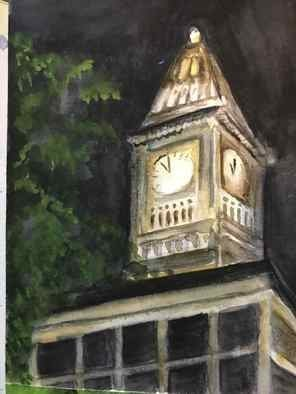 Deborah Paige Jackson; Clock Tower, 2020, Original Watercolor, 6 x 8 inches. Artwork description: 241 A scenery depicting a large clock on top of an office building. ...