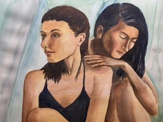 Deborah Paige Jackson; Double Beauty, 2020, Original Watercolor, 16 x 12 inches. Artwork description: 241 Watercolor on paper with two models. ...
