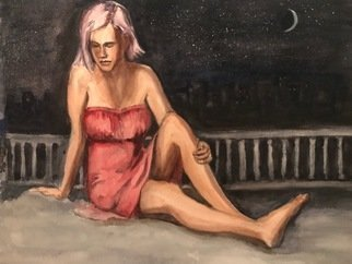 Deborah Paige Jackson; Girl On A Roof, 2019, Original Watercolor, 16 x 12 inches. Artwork description: 241 The young model is resting on her rooftop deck. ...