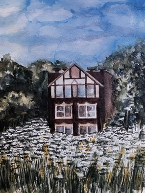 Deborah Paige Jackson; House In The Park, 2020, Original Watercolor, 16 x 12 inches. Artwork description: 241 House portrait in the park...