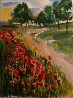 Deborah Paige Jackson; Winding Road, 2018, Original Watercolor, 6 x 8 inches. Artwork description: 241 A field of flowers next to a winding road...