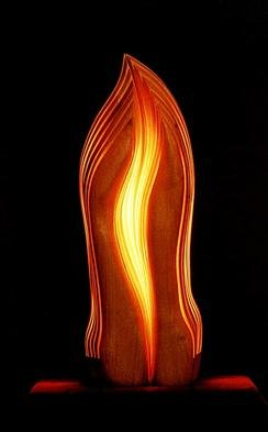 Dermot O'Brien; Grace, 1999, Original Sculpture Mixed, 12 x 22 inches. Artwork description: 241 This piece is red alder containing two light sources...