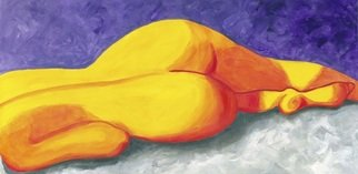 Desray Lithgow; Lay Down Beside Me, 2011, Original Painting Acrylic, 36 x 18 inches. Artwork description: 241  Resembling a landscape in many ways, rich, colourful and striking, yellow, orange and reds in the figure framed by a background of purple/ lavendar and grey.Lay Down Beside Me, an