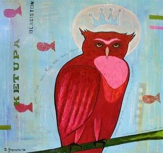 Diana Grappasonno; Fish Owl, 2006, Original Painting Acrylic, 24 x 24 inches.