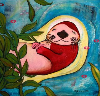 Diana Grappasonno; Sleepy Sea Otter, 2006, Original Painting Acrylic, 24 x 24 inches.