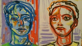 Denise Katz; red and blue, 2016, Original Drawing Pastel, 28 x 16 inches. Artwork description: 241 Portraits of the Divide...